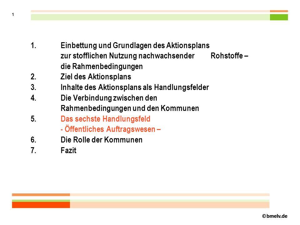 1 1.Einbettung und Grundlagen des Aktionsplans zur stofflichen Nutzung nachwachsender Rohstoffe – die Rahmenbedingungen 2.
