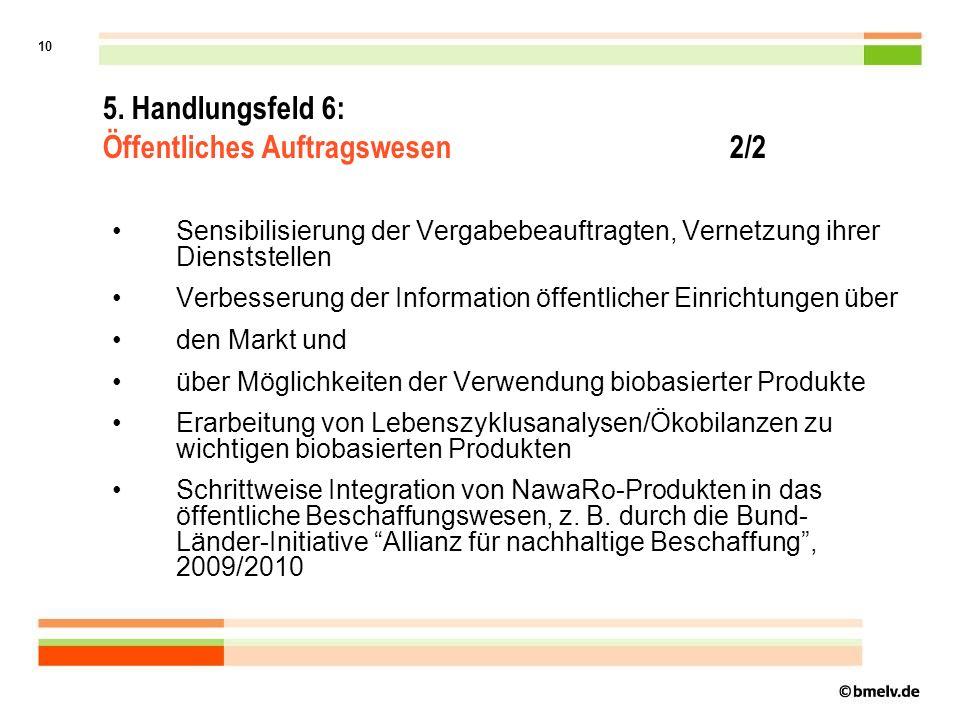 9 Ziel:Erhöhung des Anteils von nachwachsenden Rohstoffen an den von öffentlichen Einrichtungen beschafften Produkten, soweit Umweltvorteile belegbar