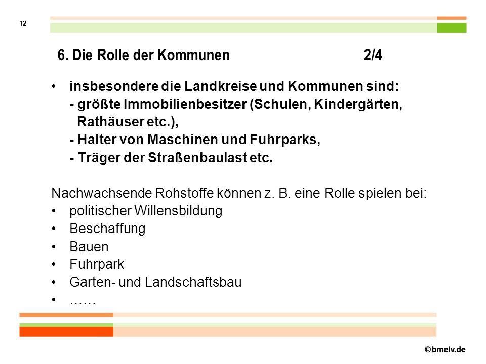 11 6. Die Rolle der Kommunen 1/4 Einerseits: Kommunen sind - weltweit gesehen - wesentliche Verursacher von klimaschädigenden Treibhausgasen (auf Gebä