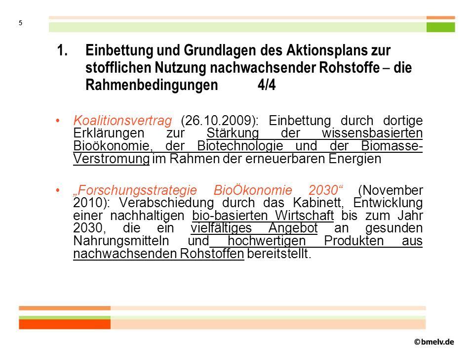 5 1.Einbettung und Grundlagen des Aktionsplans zur stofflichen Nutzung nachwachsender Rohstoffe – die Rahmenbedingungen 4/4 Koalitionsvertrag (26.10.2009): Einbettung durch dortige Erklärungen zur Stärkung der wissensbasierten Bioökonomie, der Biotechnologie und der Biomasse- Verstromung im Rahmen der erneuerbaren Energien Forschungsstrategie BioÖkonomie 2030 (November 2010): Verabschiedung durch das Kabinett, Entwicklung einer nachhaltigen bio-basierten Wirtschaft bis zum Jahr 2030, die ein vielfältiges Angebot an gesunden Nahrungsmitteln und hochwertigen Produkten aus nachwachsenden Rohstoffen bereitstellt.