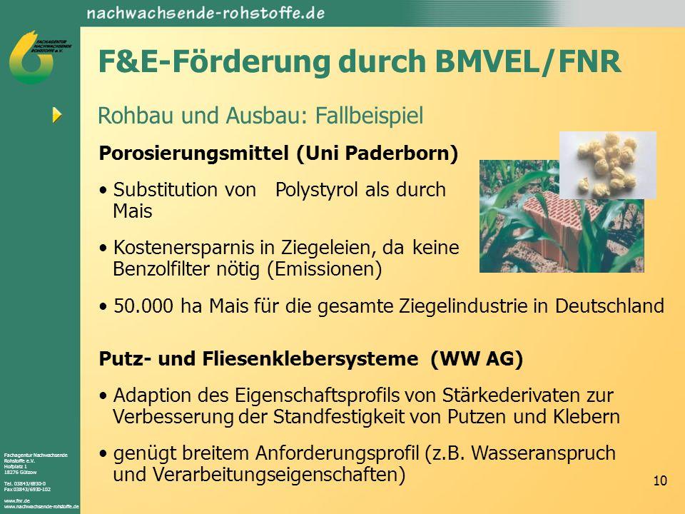 Fachagentur Nachwachsende Rohstoffe e.V. Hofplatz 1 18276 Gülzow Tel. 03843/6930-0 Fax 03843/6930-102 www.fnr.de www.nachwachsende-rohstoffe.de 10 Roh