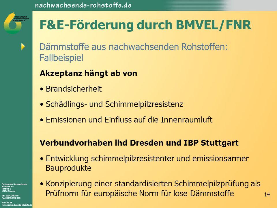 Fachagentur Nachwachsende Rohstoffe e.V. Hofplatz 1 18276 Gülzow Tel. 03843/6930-0 Fax 03843/6930-102 www.fnr.de www.nachwachsende-rohstoffe.de 14 Däm