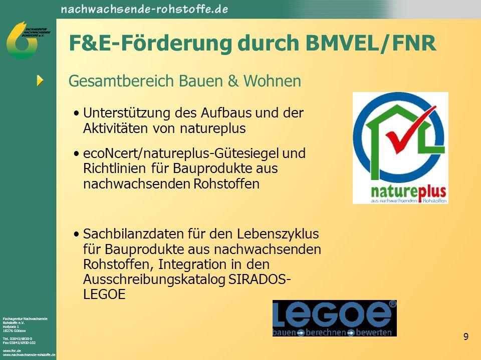 Fachagentur Nachwachsende Rohstoffe e.V. Hofplatz 1 18276 Gülzow Tel. 03843/6930-0 Fax 03843/6930-102 www.fnr.de www.nachwachsende-rohstoffe.de 9 F&E-