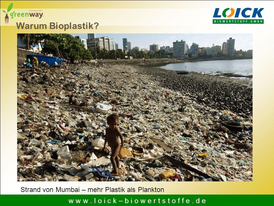 Warum Bioplastik? Strand von Mumbai – mehr Plastik als Plankton w w w. l o i c k – b i o w e r t s t o f f e. d e