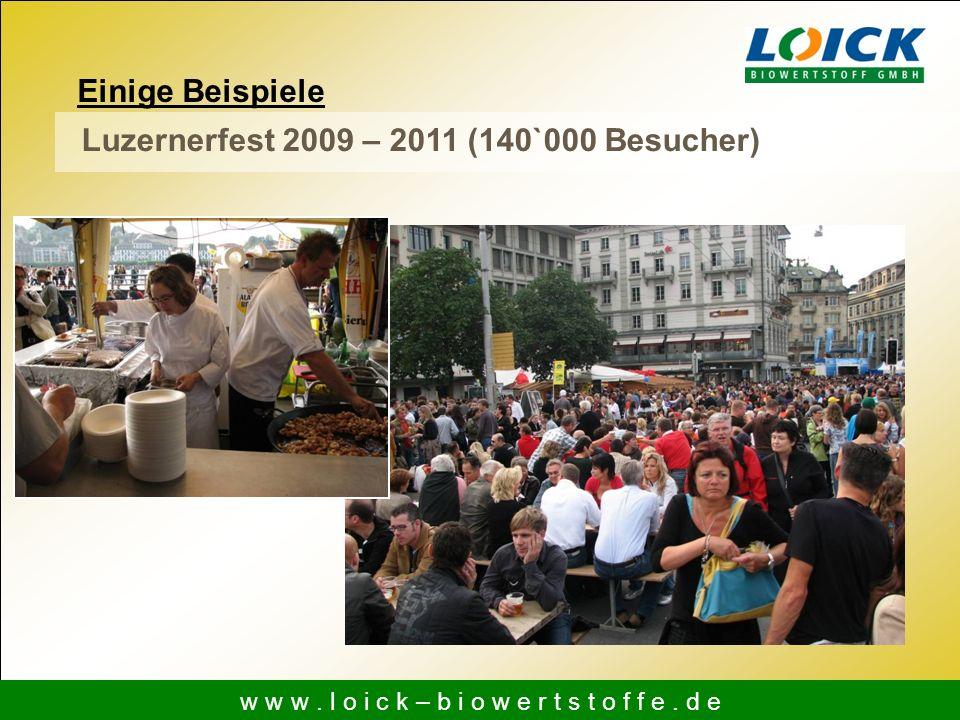 Einige Beispiele w w w. l o i c k – b i o w e r t s t o f f e. d e Luzernerfest 2009 – 2011 (140`000 Besucher)