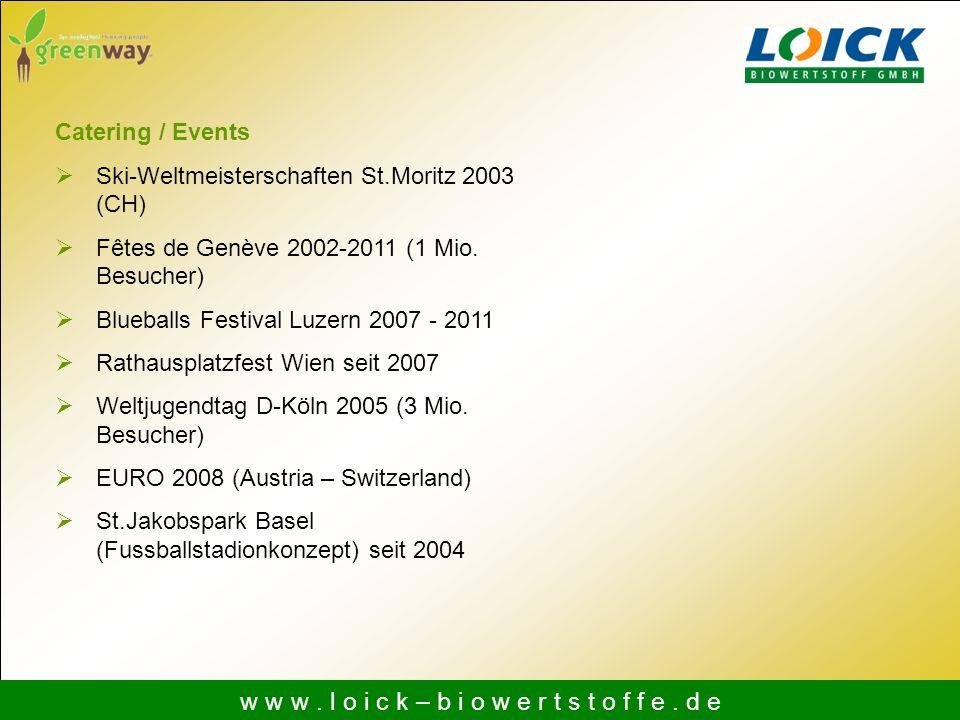w w w. l o i c k – b i o w e r t s t o f f e. d e Catering / Events Ski-Weltmeisterschaften St.Moritz 2003 (CH) Fêtes de Genève 2002-2011 (1 Mio. Besu