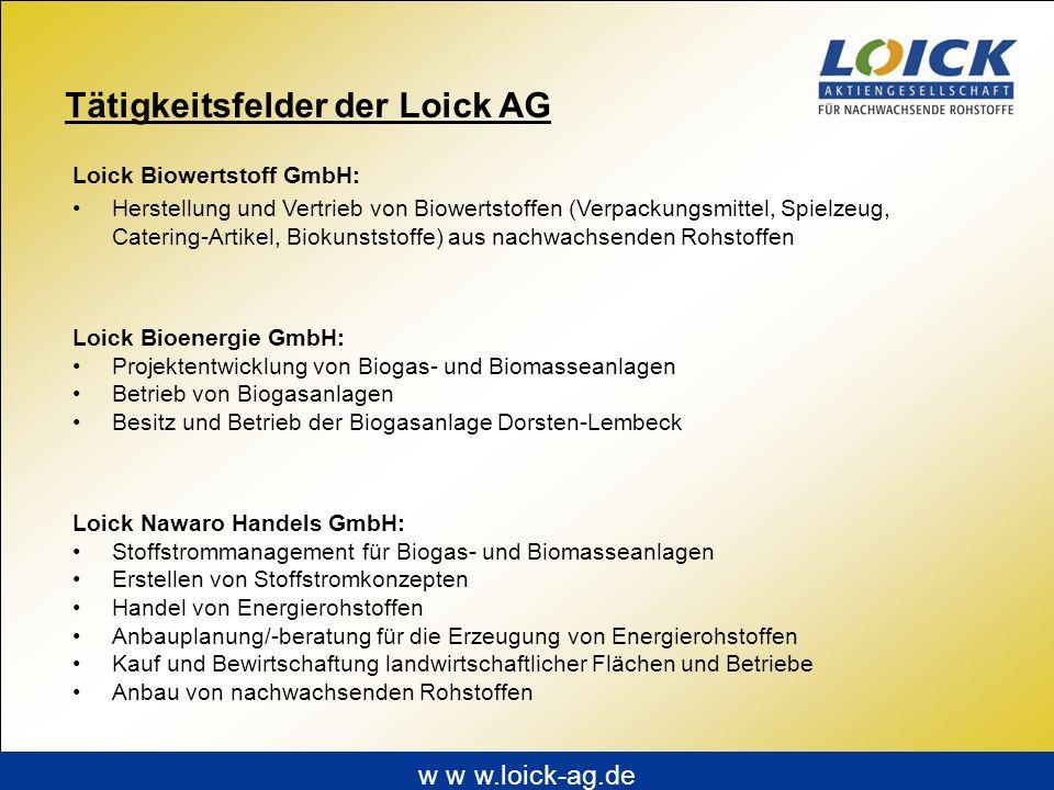 Tätigkeitsfelder der Loick AG Loick Biowertstoff GmbH: Herstellung und Vertrieb von Biowertstoffen (Verpackungsmittel, Spielzeug, Catering-Artikel, Bi