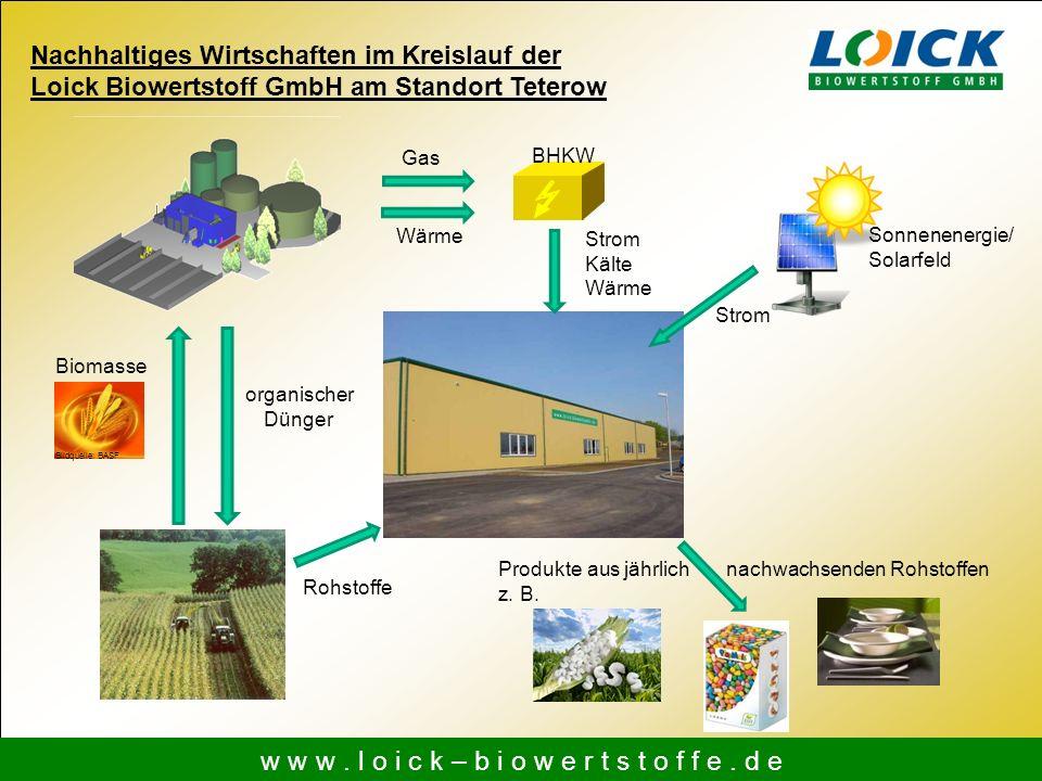 Produkte aus jährlich nachwachsenden Rohstoffen z. B. w w w. l o i c k – b i o w e r t s t o f f e. d e Nachhaltiges Wirtschaften im Kreislauf der Loi