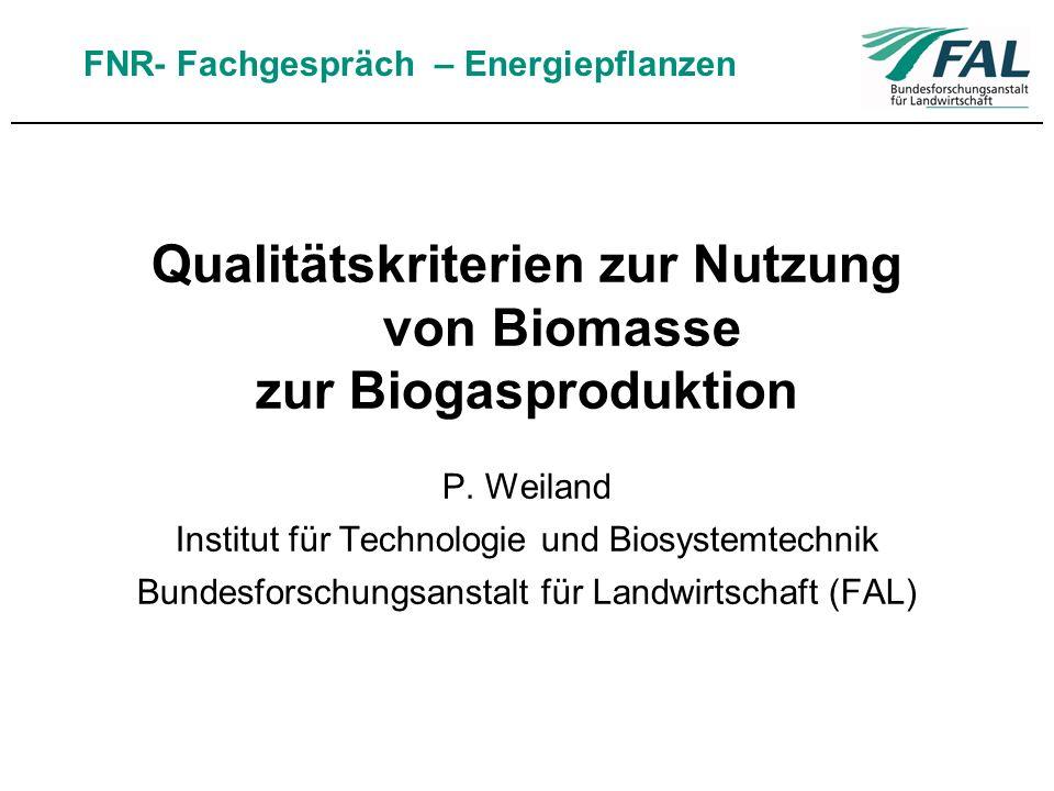 Qualitätskriterien zur Nutzung von Biomasse zur Biogasproduktion P. Weiland Institut für Technologie und Biosystemtechnik Bundesforschungsanstalt für