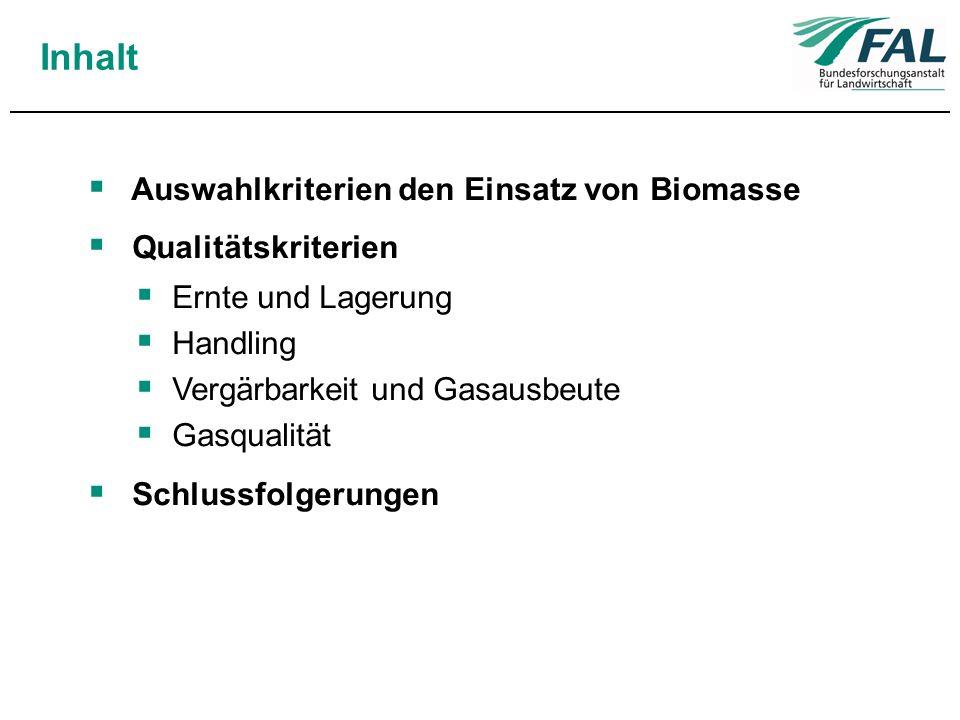 Inhalt Auswahlkriterien den Einsatz von Biomasse Qualitätskriterien Ernte und Lagerung Handling Vergärbarkeit und Gasausbeute Gasqualität Schlussfolge