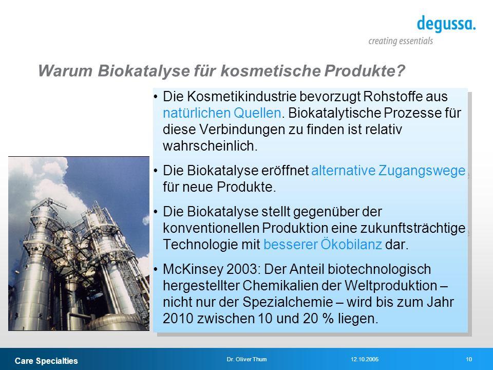 Care Specialties 10Dr. Oliver Thum12.10.2005 Warum Biokatalyse für kosmetische Produkte? Die Kosmetikindustrie bevorzugt Rohstoffe aus natürlichen Que