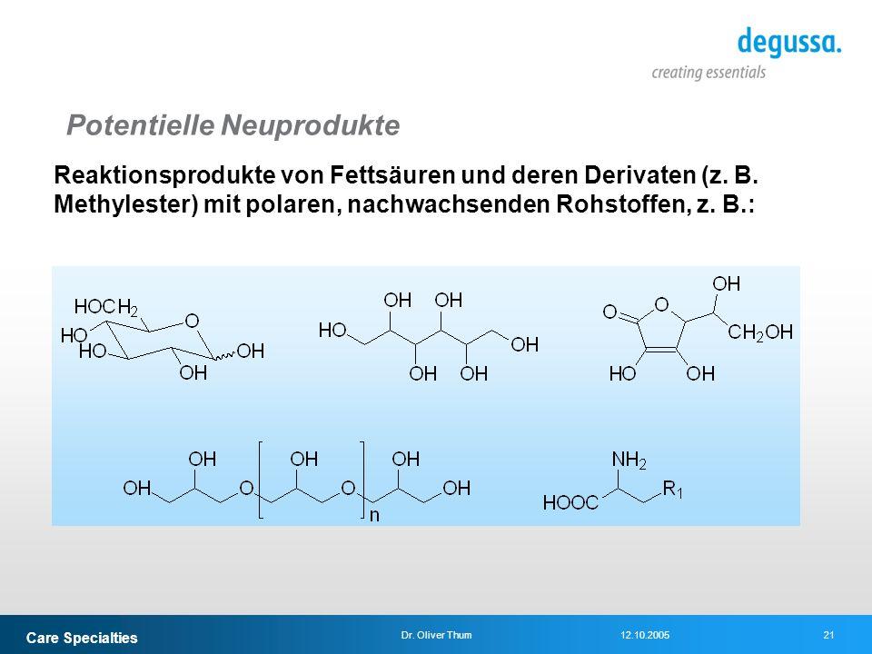 Care Specialties 21Dr. Oliver Thum12.10.2005 Potentielle Neuprodukte Reaktionsprodukte von Fettsäuren und deren Derivaten (z. B. Methylester) mit pola