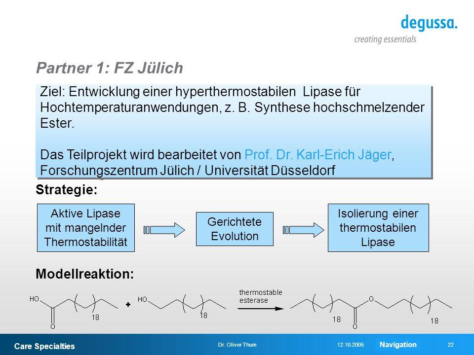 Care Specialties 22Dr. Oliver Thum12.10.2005 Partner 1: FZ Jülich Ziel: Entwicklung einer hyperthermostabilen Lipase für Hochtemperaturanwendungen, z.