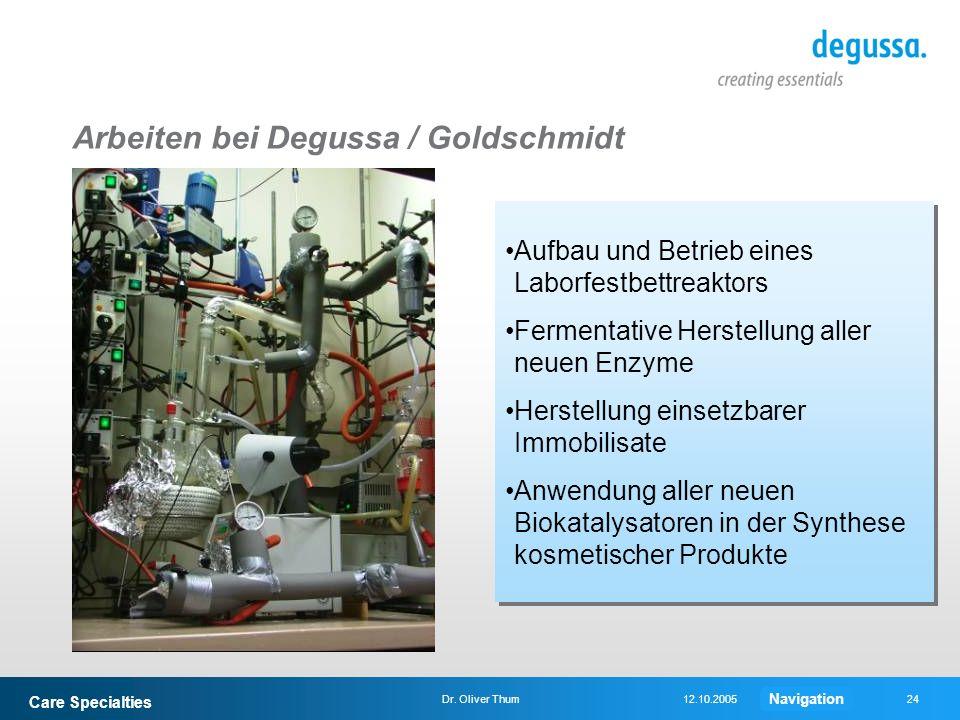 Care Specialties 24Dr. Oliver Thum12.10.2005 Arbeiten bei Degussa / Goldschmidt Aufbau und Betrieb eines Laborfestbettreaktors Fermentative Herstellun