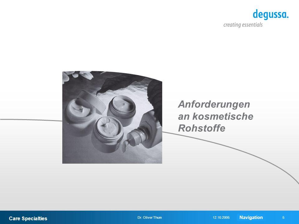 Care Specialties 5Dr. Oliver Thum12.10.2005 Anforderungen an kosmetische Rohstoffe Navigation