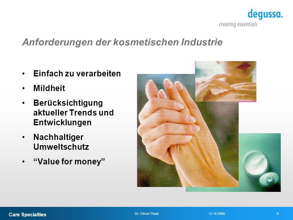 Care Specialties 6Dr. Oliver Thum12.10.2005 Anforderungen der kosmetischen Industrie Einfach zu verarbeiten Mildheit Berücksichtigung aktueller Trends