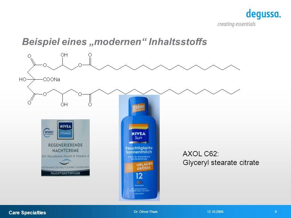 Care Specialties 8Dr. Oliver Thum12.10.2005 AXOL C62: Glyceryl stearate citrate Beispiel eines modernen Inhaltsstoffs