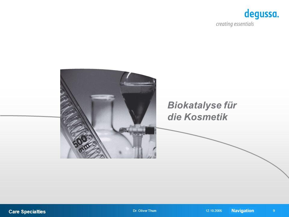 Care Specialties 9Dr. Oliver Thum12.10.2005 Biokatalyse für die Kosmetik Navigation