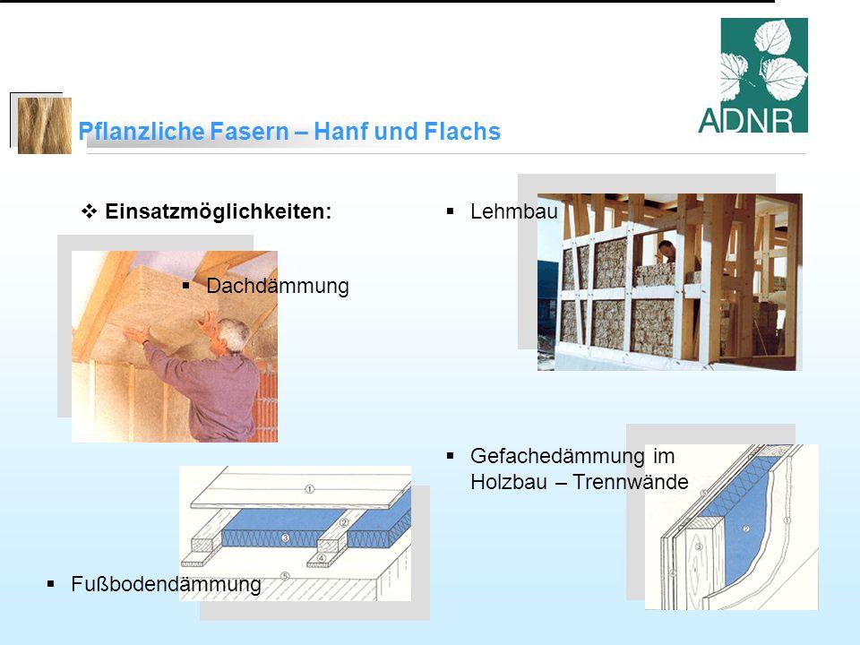 Pflanzliche Fasern – Hanf und Flachs Einsatzmöglichkeiten: Dachdämmung Lehmbau Gefachedämmung im Holzbau – Trennwände Fußbodendämmung