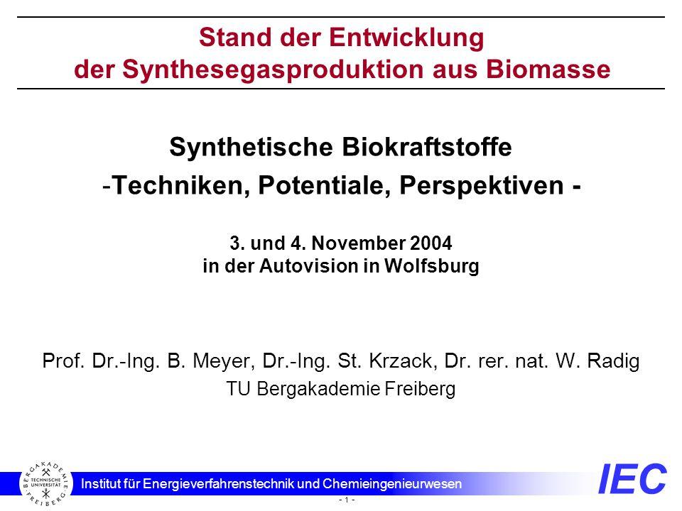 IEC Institut für Energieverfahrenstechnik und Chemieingenieurwesen - 1 - Synthetische Biokraftstoffe -Techniken, Potentiale, Perspektiven - 3. und 4.