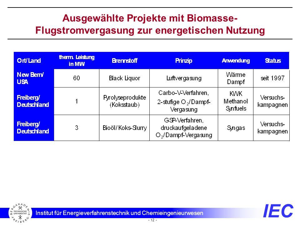 IEC Institut für Energieverfahrenstechnik und Chemieingenieurwesen - 12 - Ausgewählte Projekte mit Biomasse- Flugstromvergasung zur energetischen Nutz