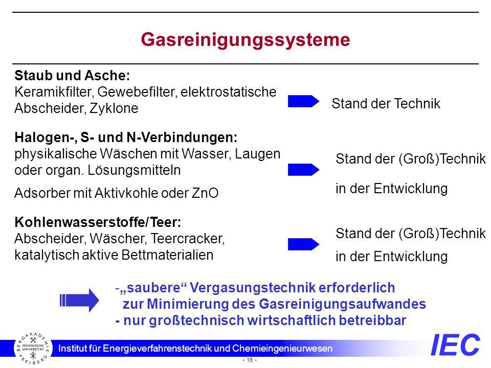 IEC Institut für Energieverfahrenstechnik und Chemieingenieurwesen - 16 - Gasreinigungssysteme Staub und Asche: Keramikfilter, Gewebefilter, elektrost