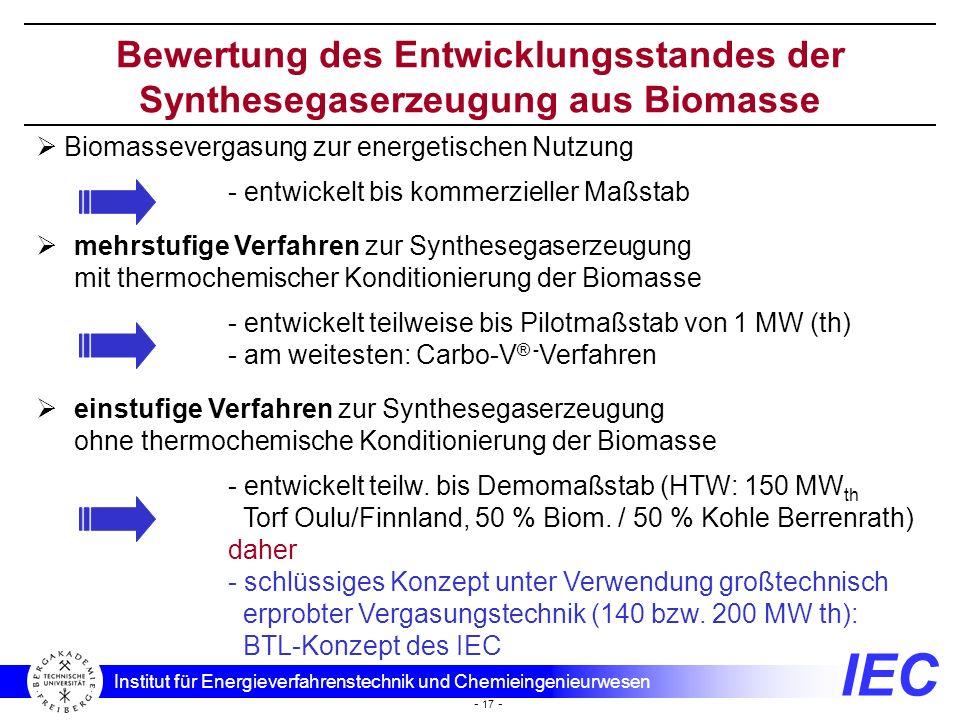 IEC Institut für Energieverfahrenstechnik und Chemieingenieurwesen - 17 - Bewertung des Entwicklungsstandes der Synthesegaserzeugung aus Biomasse mehr