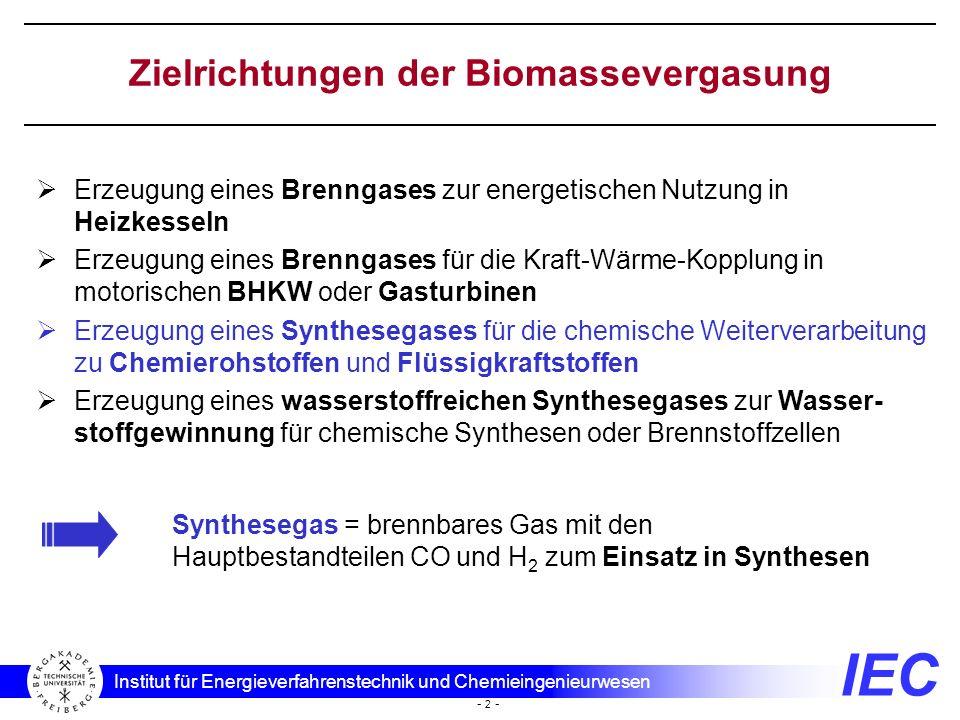 IEC Institut für Energieverfahrenstechnik und Chemieingenieurwesen - 2 - Zielrichtungen der Biomassevergasung Erzeugung eines Brenngases zur energetis