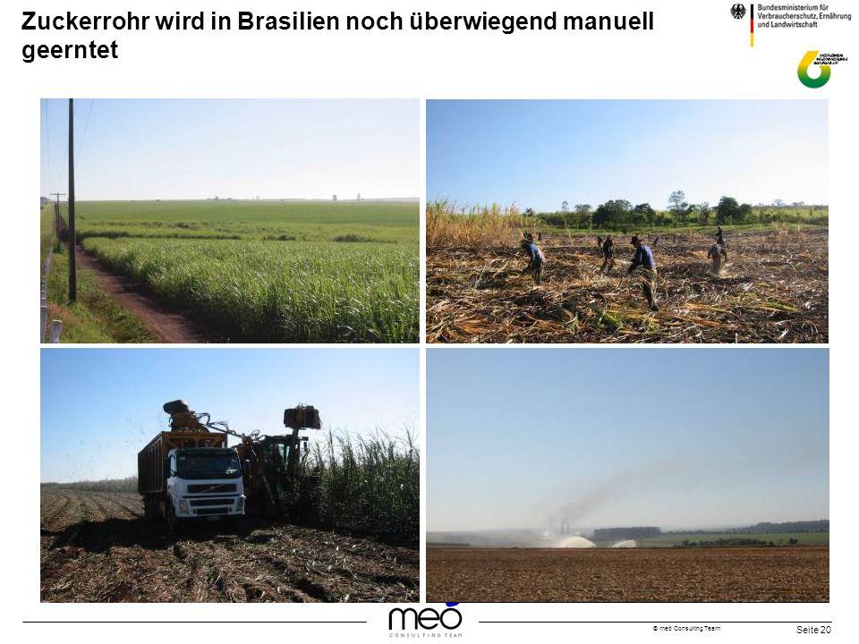 © meó Consulting Team Seite 20 Zuckerrohr wird in Brasilien noch überwiegend manuell geerntet