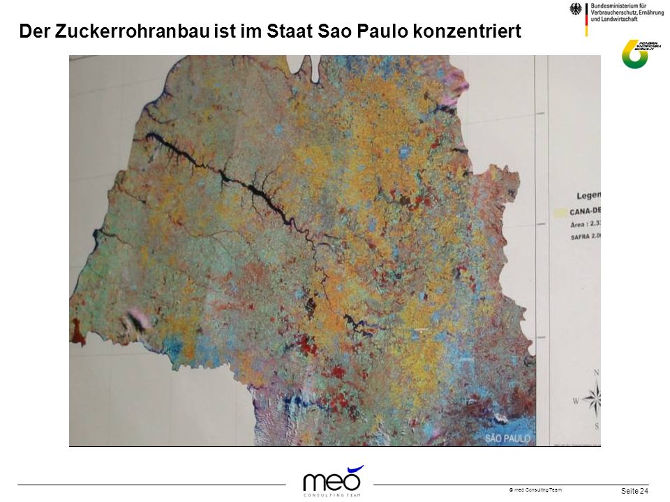 © meó Consulting Team Seite 24 Der Zuckerrohranbau ist im Staat Sao Paulo konzentriert