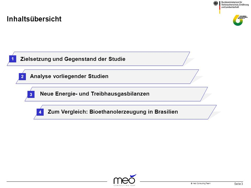 © meó Consulting Team Seite 3 Inhaltsübersicht Zielsetzung und Gegenstand der Studie Analyse vorliegender Studien 1 2 3 Neue Energie- und Treibhausgas