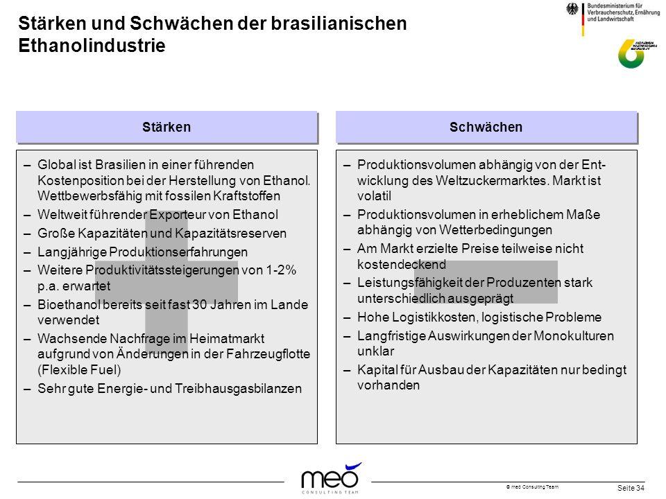 © meó Consulting Team Seite 34 Stärken und Schwächen der brasilianischen Ethanolindustrie –Global ist Brasilien in einer führenden Kostenposition bei