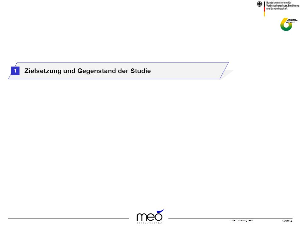 © meó Consulting Team Seite 4 Zielsetzung und Gegenstand der Studie 1