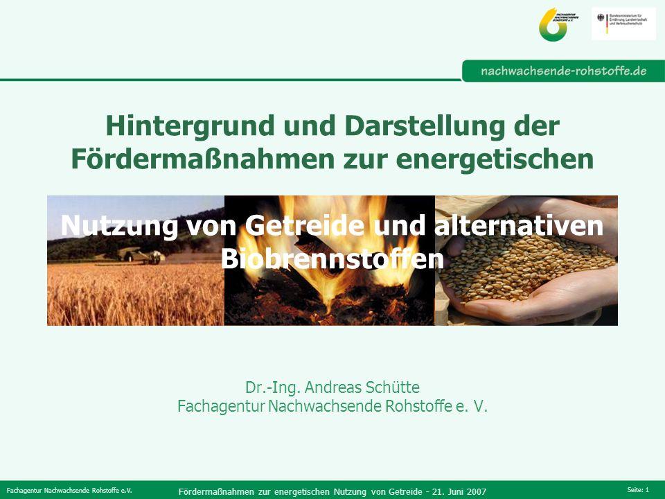 Fachagentur Nachwachsende Rohstoffe e.V. Fördermaßnahmen zur energetischen Nutzung von Getreide - 21. Juni 2007 Seite: 1 Hintergrund und Darstellung d