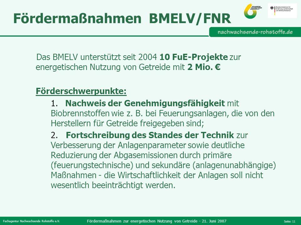 Fachagentur Nachwachsende Rohstoffe e.V. Fördermaßnahmen zur energetischen Nutzung von Getreide - 21. Juni 2007 Seite: 11 Fördermaßnahmen BMELV/FNR Da