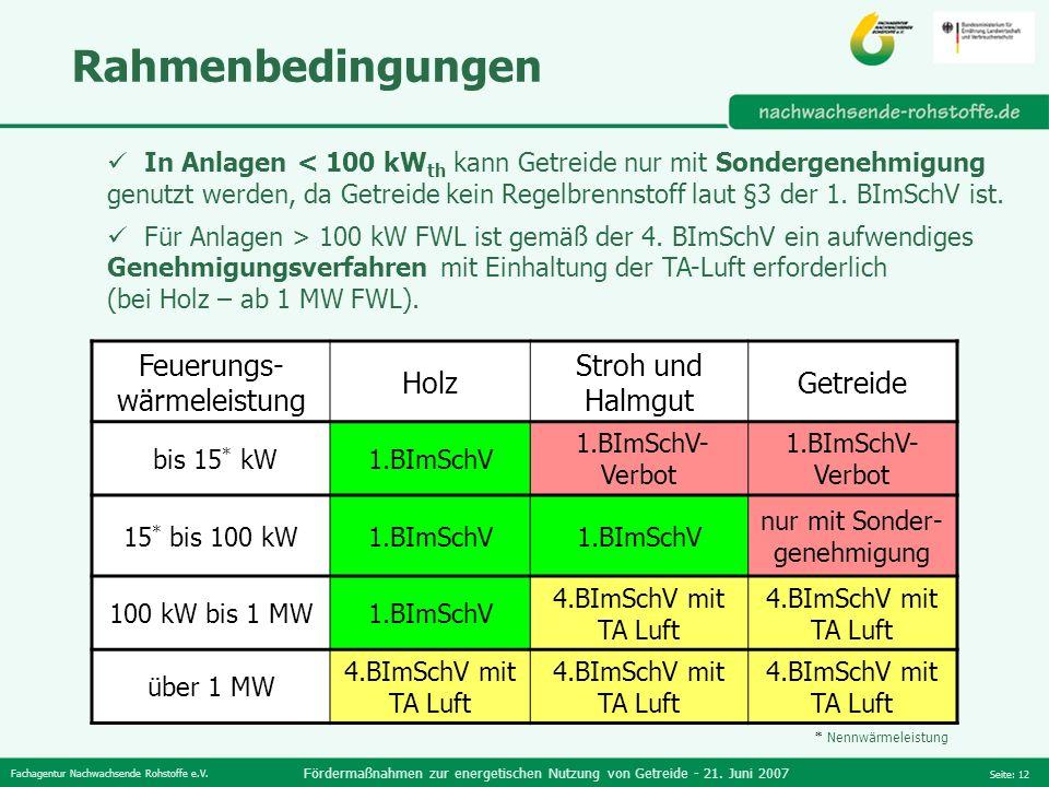 Fachagentur Nachwachsende Rohstoffe e.V. Fördermaßnahmen zur energetischen Nutzung von Getreide - 21. Juni 2007 Seite: 12 Rahmenbedingungen In Anlagen
