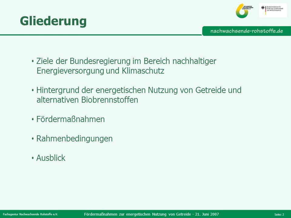 Fachagentur Nachwachsende Rohstoffe e.V. Fördermaßnahmen zur energetischen Nutzung von Getreide - 21. Juni 2007 Seite: 2 Gliederung Ziele der Bundesre
