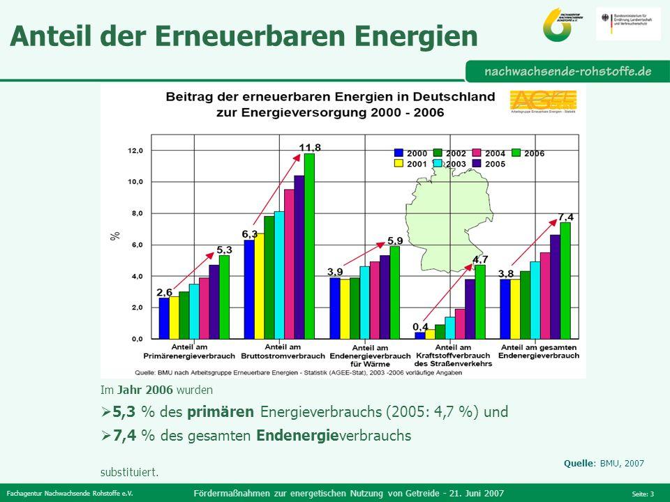Fachagentur Nachwachsende Rohstoffe e.V. Fördermaßnahmen zur energetischen Nutzung von Getreide - 21. Juni 2007 Seite: 3 Im Jahr 2006 wurden 5,3 % des