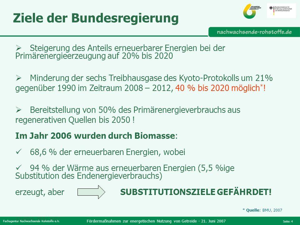 Fachagentur Nachwachsende Rohstoffe e.V. Fördermaßnahmen zur energetischen Nutzung von Getreide - 21. Juni 2007 Seite: 4 Steigerung des Anteils erneue