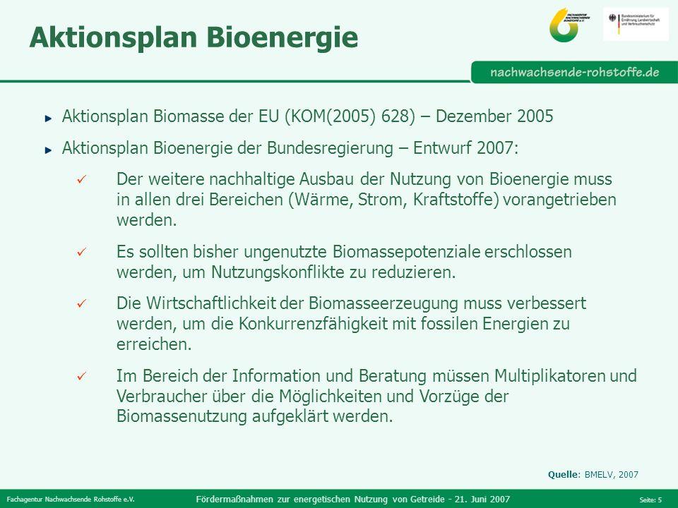 Fachagentur Nachwachsende Rohstoffe e.V. Fördermaßnahmen zur energetischen Nutzung von Getreide - 21. Juni 2007 Seite: 5 Aktionsplan Bioenergie Aktion