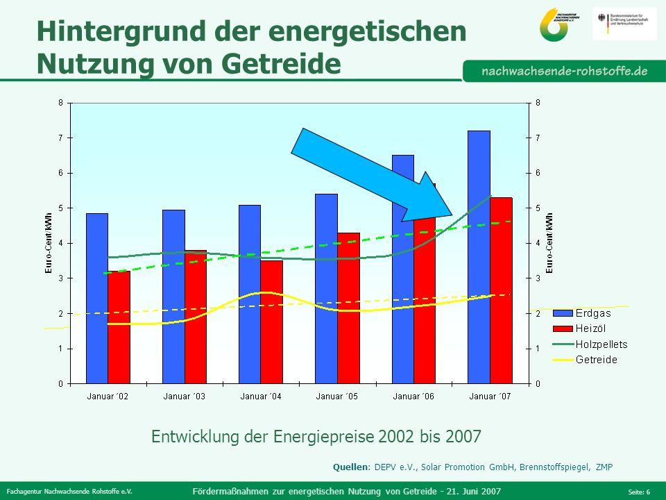 Fachagentur Nachwachsende Rohstoffe e.V. Fördermaßnahmen zur energetischen Nutzung von Getreide - 21. Juni 2007 Seite: 6 Hintergrund der energetischen