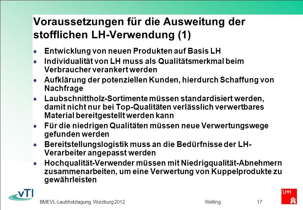 BMEVL-Laubholztagung, Würzburg 2012Welling17 Voraussetzungen für die Ausweitung der stofflichen LH-Verwendung (1) Entwicklung von neuen Produkten auf Basis LH Individualität von LH muss als Qualitätsmerkmal beim Verbraucher verankert werden Aufklärung der potenziellen Kunden, hierdurch Schaffung von Nachfrage Laubschnittholz-Sortimente müssen standardisiert werden, damit nicht nur bei Top-Qualitäten verlässlich verwertbares Material bereitgestellt werden kann Für die niedrigen Qualitäten müssen neue Verwertungswege gefunden werden Bereitstellungslogistik muss an die Bedürfnisse der LH- Verarbeiter angepasst werden Hochqualität-Verwender müssen mit Niedrigqualität-Abnehmern zusammenarbeiten, um eine Verwertung von Kuppelprodukte zu gewährleisten
