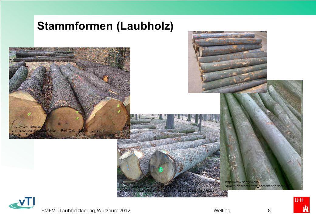 BMEVL-Laubholztagung, Würzburg 2012Welling9 Nadelholz geringe Abholzigkeit geringe Ovalität meist gerade lange Stämme meist homogene Sortimente kleine Äste, meist gleichmäßig verteilt wenig Wurzelanlauf Laubholz z.T.