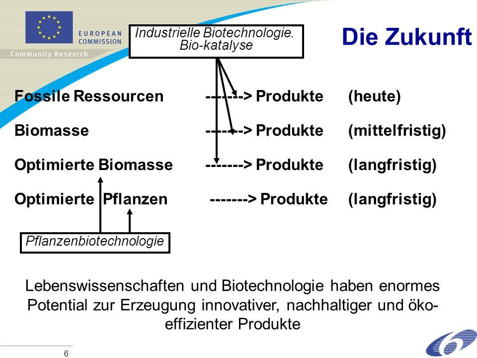 6 Die Zukunft Fossile Ressourcen-------> Produkte(heute) Biomasse-------> Produkte (mittelfristig) Optimierte Biomasse-------> Produkte(langfristig) Optimierte Pflanzen -------> Produkte(langfristig) Industrielle Biotechnologie.