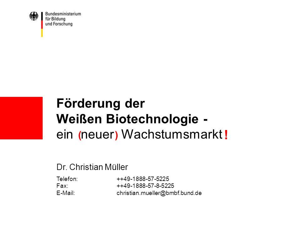 10 DatumAbteilung Titel der Präsentation Förderung der Weißen Biotechnologie