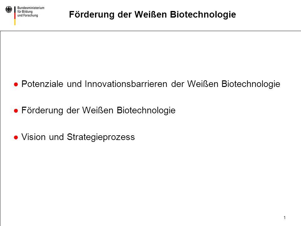 1 DatumAbteilung Titel der Präsentation Förderung der Weißen Biotechnologie Potenziale und Innovationsbarrieren der Weißen Biotechnologie Förderung der Weißen Biotechnologie Vision und Strategieprozess