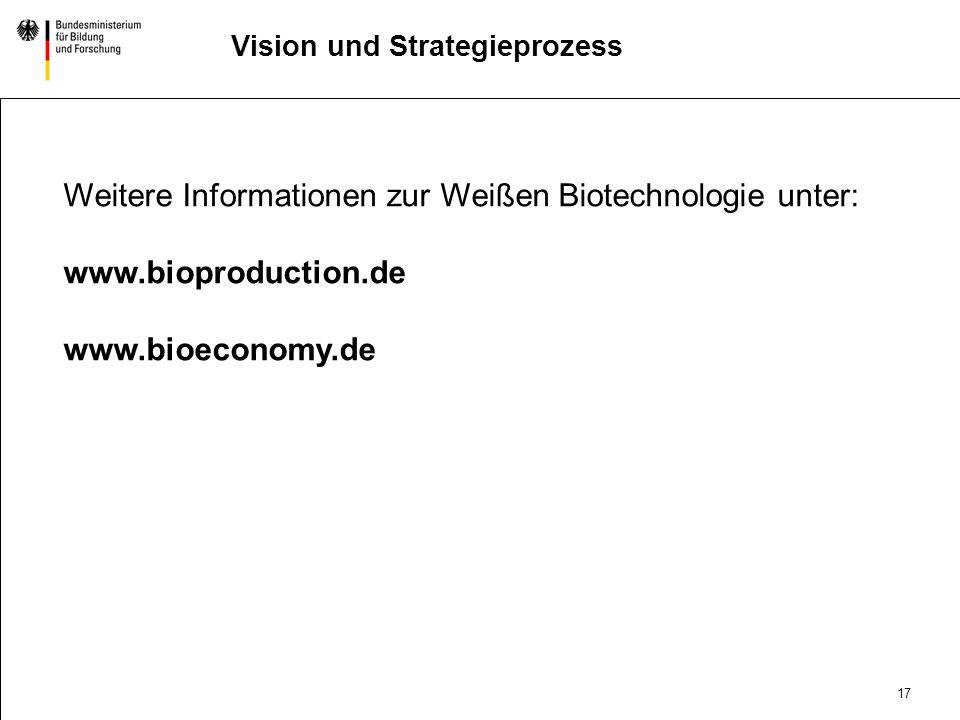 16 DatumAbteilung Titel der Präsentation Vision und Strategieprozess Technology PushMarket Pull Gesellschaftliche Anforderung BioIndustrie 2025 Öffent