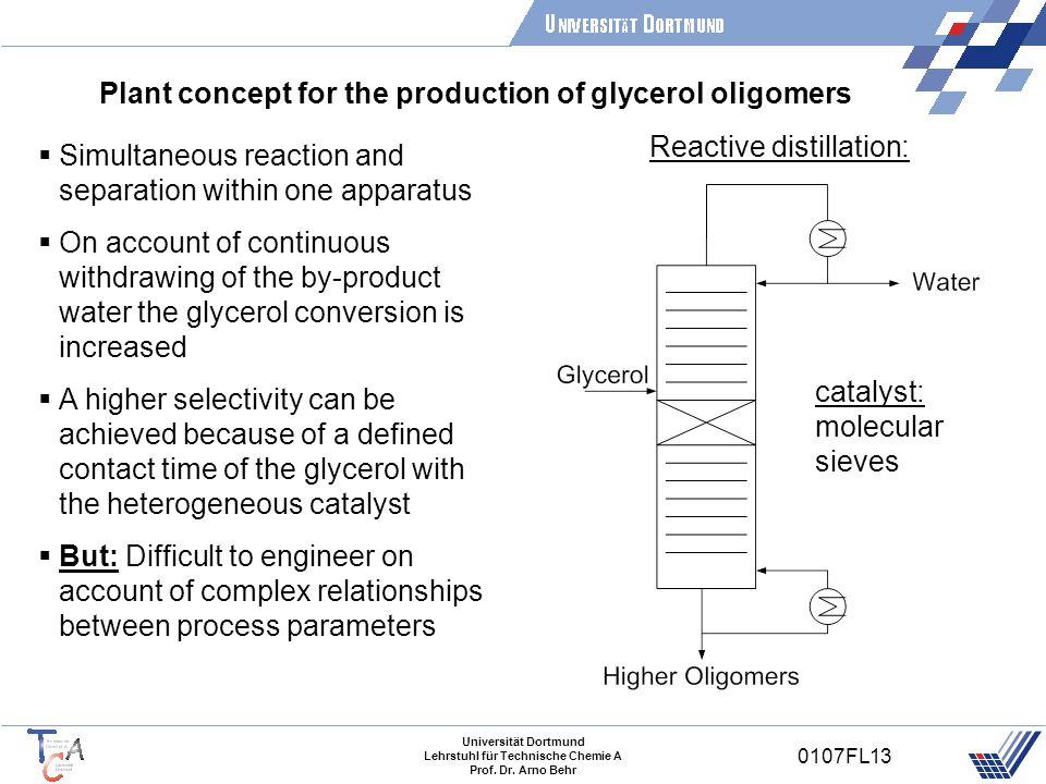 Universität Dortmund Lehrstuhl für Technische Chemie A Prof. Dr. Arno Behr 0107FL13 Plant concept for the production of glycerol oligomers Simultaneou