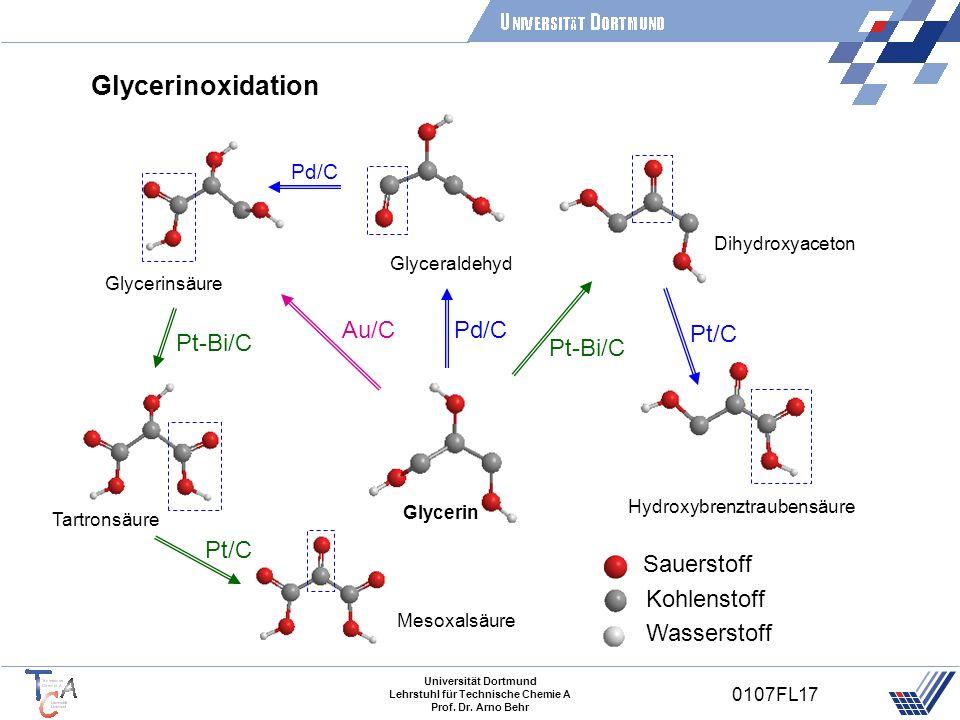 Universität Dortmund Lehrstuhl für Technische Chemie A Prof. Dr. Arno Behr 0107FL17 Glycerinoxidation Pt-Bi/C Glycerin Dihydroxyaceton Hydroxybrenztra