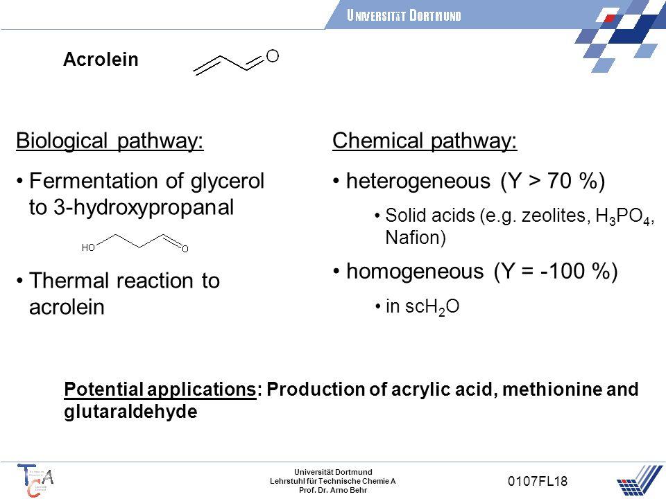 Universität Dortmund Lehrstuhl für Technische Chemie A Prof. Dr. Arno Behr 0107FL18 Acrolein Potential applications: Production of acrylic acid, methi